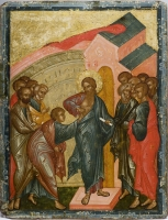 Doubting of Thomas / The Myrrh-Bearers  at the Holy Sepulcher (A double-sided tablet icon)