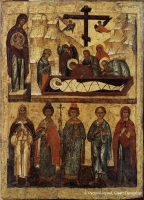 Double icon. The Entombment. The Holy Virgin with the Selected Saints