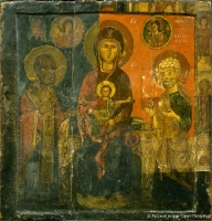 Our Lady enthroned with saints Nicholas and Clement