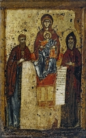 Our Lady of Pechersk (Svenskaya) with saints Theodosius and Anthony