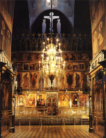 Holy Trinity Cathedral's iconostasis painted by Andrei Rublev, Daniil Cherny and masters of their circle. 1425-1427. The Trinity Lavra. 2003. p. 81